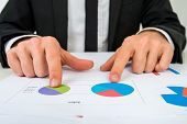 Hands Of A Businessman Analysing Two Pie Graphs