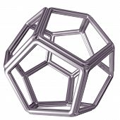 stock photo of dodecahedron  - Original isolated illustration of a tubular steel dodecahedron - JPG