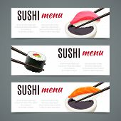 stock photo of chopsticks  - Sushi menu banners horizontal with salmon roll and chopsticks isolated vector illustration - JPG