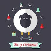 Christmas Card With Sheep Over Dark Blue