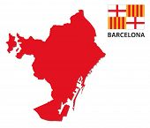Barcelona Map With Flag