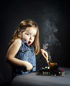 Cute Little Girl Repair Electronics By Cooper-bit