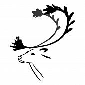 Reindeer. Hand drawn in ink style