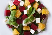 Fresh Beet Salad On A Plate Close-up. Horizontal View From Above