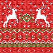 Seamless Pattern with Christmas Deers on a background.