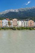 Inn River On Its Way Through Innsbruck, Austria.