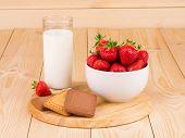 Fresh milk and strawberry