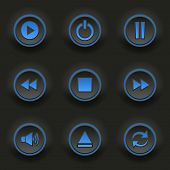 Blue Round Buttons For Web Player
