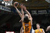 VALENCIA, SPAIN - DECEMBER 5: Luncar (15) defends during Euroleague match between Valencia Basket Club and Crvena Zvezda Telekom Belgrade at Fonteta Stadium on Dicember 5, 2014 in Valencia, Spain