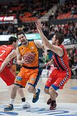 VALENCIA, SPAIN - DECEMBER 7:  Martinez with ball during Endesa Spanish League game between Valencia Basket Club and Laboral Kutxa Baskonia at Fonteta Stadium on December 7, 2014 in Valencia, Spain