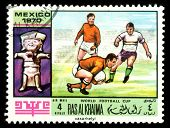 Vintage  Postage Stamp. World  Football Cup In Mexico