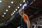VALENCIA, SPAIN - DECEMBER 5: Referee during Euroleague match between Valencia Basket Club and Crvena Zvezda Telekom Belgrade at Fonteta Stadium on Dicember 5, 2014 in Valencia, Spain