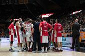VALENCIA, SPAIN - DECEMBER 5: Crvena Zvezda players during Euroleague match between Valencia Basket Club and Crvena Zvezda Telekom Belgrade at Fonteta Stadium on Dicember 5, 2014 in Valencia, Spain