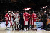 VALENCIA, SPAIN - DECEMBER 5: Crvena Zvezda players during Euroleague match between Valencia Basket Club and Crvena Zvezda Telekom Belgrade at Fonteta Stadium on Dicember 5, 2014 in Valencia, Spain