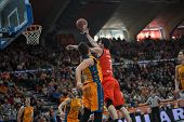 VALENCIA, SPAIN - DECEMBER 7:  Shengelia (R) during Endesa Spanish League game between Valencia Basket Club and Laboral Kutxa Baskonia at Fonteta Stadium on December 7, 2014 in Valencia, Spain