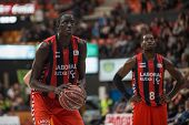 VALENCIA, SPAIN - DECEMBER 7:  Diop (L) during Endesa Spanish League game between Valencia Basket Club and Laboral Kutxa Baskonia at Fonteta Stadium on December 7, 2014 in Valencia, Spain
