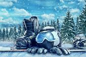 Winter sport equipment on winter forest background