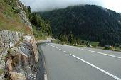 Mountain Road In Alps In Switzerland