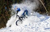 Cyclist extreme snow