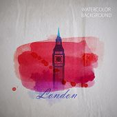 vector watercolor illustration of London Big Ben tower on the ol
