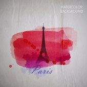 vector watercolor illustration of Paris Eiffel tower on the old