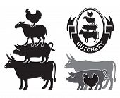 monochrome set of farm animals design