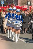 Drummer girls on Victory Day parade