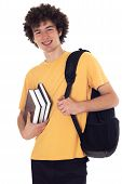 Happy Student With Backpack And Books.