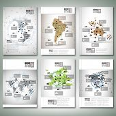 World maps, infographic design. Brochure, flyer or report for business, templates vector