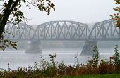 foto of trestle bridge  - Trestle Bridge in the mist over the Saint John River