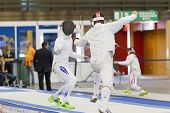 Young Athletes Competing During The World Youth Fencing Championships 2014