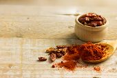 picture of chillies  - chilli spice i a wooden bowl on a wooden background - JPG