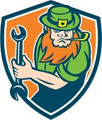 Leprechaun Mechanic Spanner Shield Retro