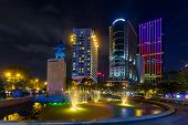night view of the Me Linh square and buildings around at downtown of in Hochiminh city Vietnamr