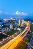 Beautiful National Route 1A highway from high view at Ho Chi Minh City ( Sai Gon ) Vietnam in sunset