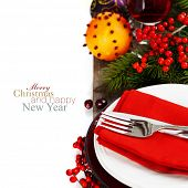 Christmas And New Year Holiday Table Setting with mulled wine and spices