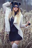 Attractive Blonde Woman Outdoor.