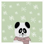 Winter hand drawn panda in scarf. Snowflake backdrop