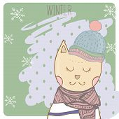 Winter cat in clothes scharf and hat. Hand drawn illustration