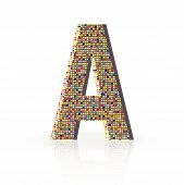 3D Vector Font With Reflection Alphabet Letter A