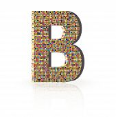 3D Vector Font With Reflection Alphabet Letter B