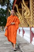 foto of walking away  - Young Buddhist Monk Walking And Smiling To The Camera - JPG