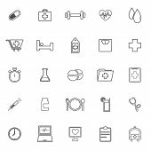 Health Line Icons On White Background