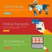 Flat Design Concept For Social Media, Mobile Payments And E-commerce. Vector Illustration For Web Ba