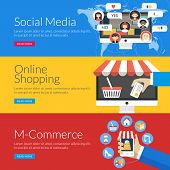 Flat Design Concept For Social Media, Online Shopping And M-commerce. Vector Illustration For Web Ba