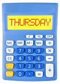Calculator With Thursday On Display Isolated