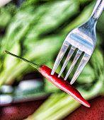 Single Chilli Indicates Chili Pepper And Cayenne