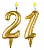 Birthday Candles Number Twenty One Isolated