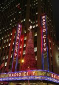 New York City landmark, Radio City Music Hall in Rockefeller Center decorated for Christmas