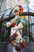 Wooden soldier drummer Christmas decoration at the Rockefeller Center in Midtown Manhattan